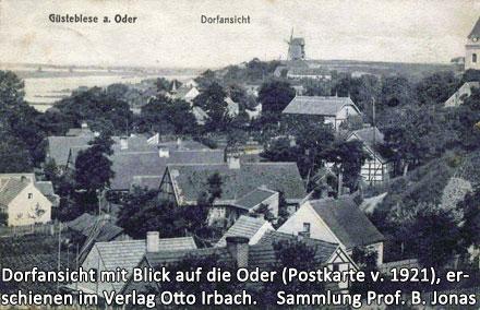 Dorfansichtvon Güstebiese mit Blick auf der Oder auf einer Postkarte aus dem Jahre 1921, erschienen im Verlag Otto Irbach, Güstebiese an der Oder.
