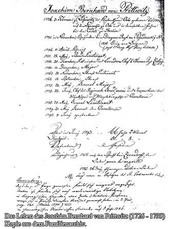 Das Leben des Joachim Bernhard von Prittwitz (1726 - 1793) - Kopie aus dem Familienarchiv.)