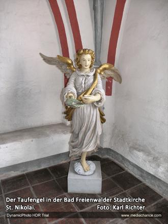 Der Taufengel in der Bad Freienwalder Stadtkirche St. Nikolai.