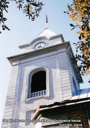 Der Kirchturm von Güstebiese / Gozdowice heute.