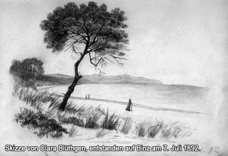 Skizze von Clara Blüthgen, entstanden auf Binz am 7. Juli 1892.