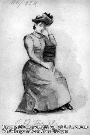 Tuschezeichnung vom 23. August 1891, vermutlich Selbstporträt von Clara Blüthgen