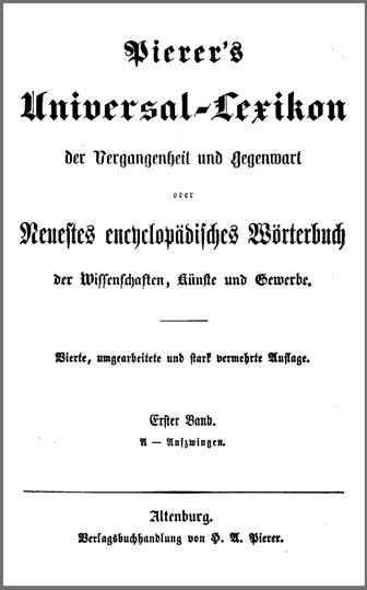 Eine Ausgabe von Pierer's Universal-Lexikon
