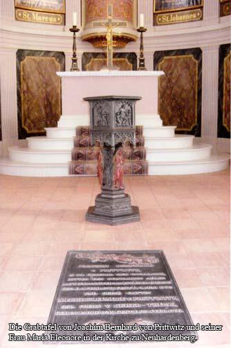 Die Grabtafel von Joachim Bernhard von Prittwitz und seiner Frau Maria Eleonore in der Kirche zu Neuhardenberg