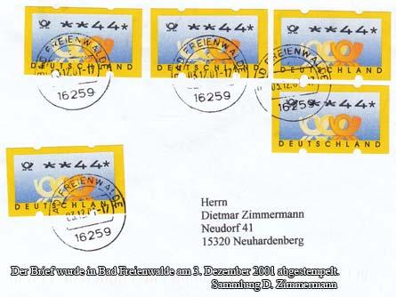 Der Brief wurde in Bad Freienwalde am 3. Dezember 2001 abgestempelt.