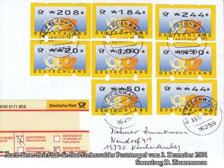 Auch dieser Brief hat die Bad Freienwalder Poststempel vom 3. Dezember 2001